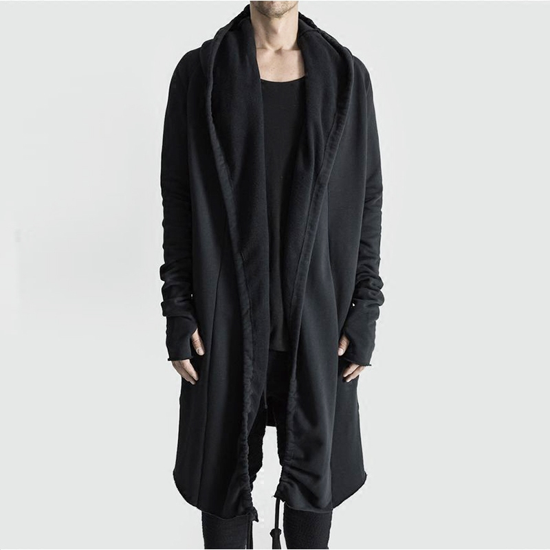 Kanye West Mantle Streetwear Hoodie Long Male Black Mens Hooded Cloak Hip Hop Longline Sweatshirt Friend Clothes Sudadera Hombre