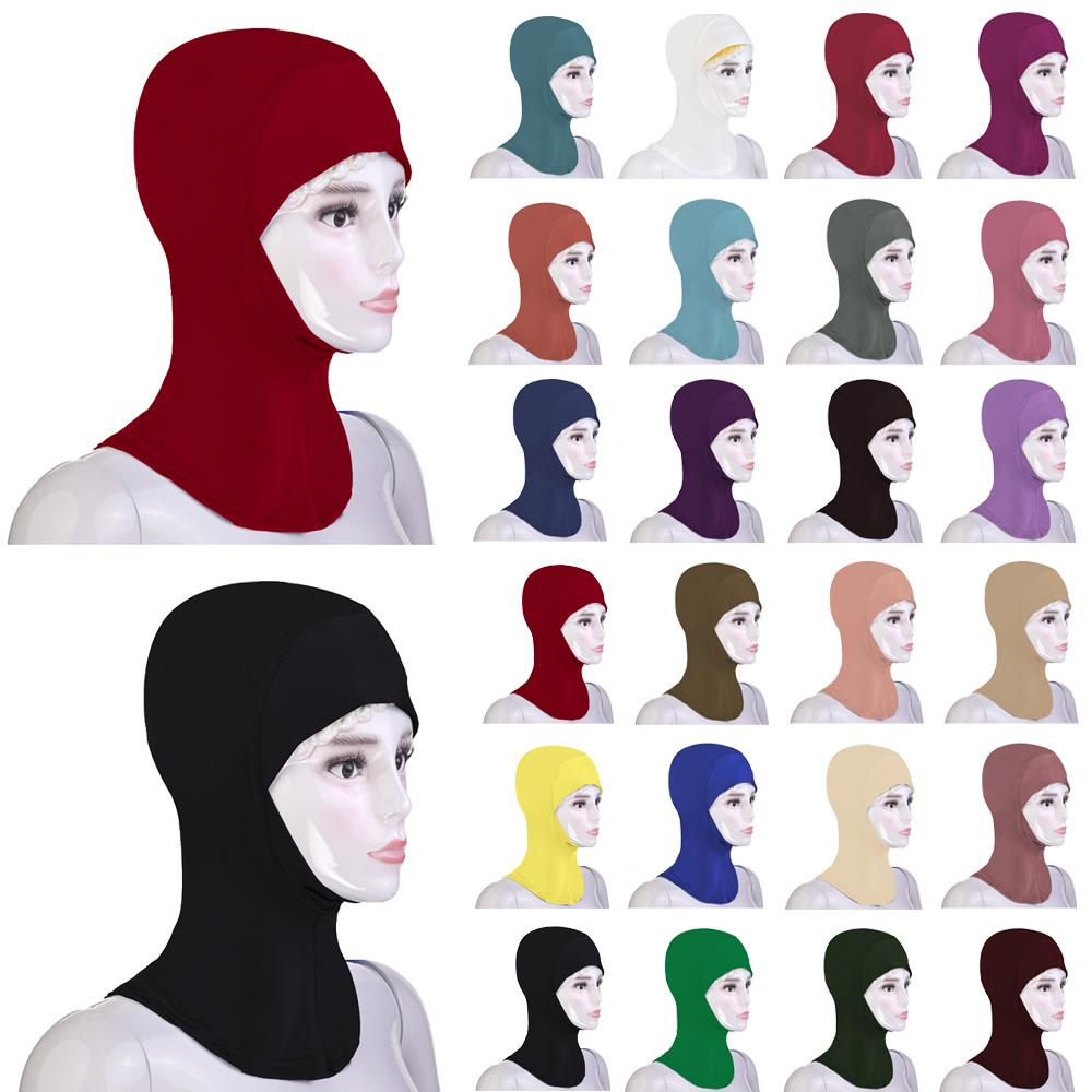 New Arab Muslim Soft Hijab Hat Inner Cap Under Scarf Bone Bonnet Ninja Soild Headscarf Full Head Cover Headwear Islamic Prayer