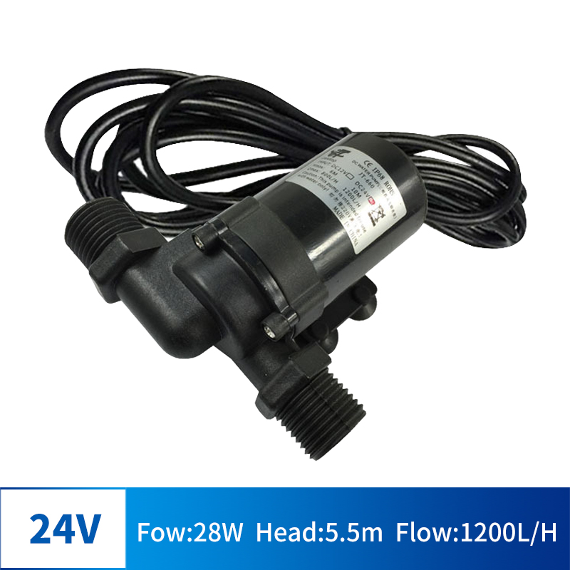 DC 12V 24V 16W 28W Multi-function Brushless Submersible Pump Four-point Threaded Port Booster Pump Floor Heating