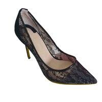 Lace Flower Breathable High Heels Women Dress Shoes Oversize 34 45 Classical Luxury Women Pumps