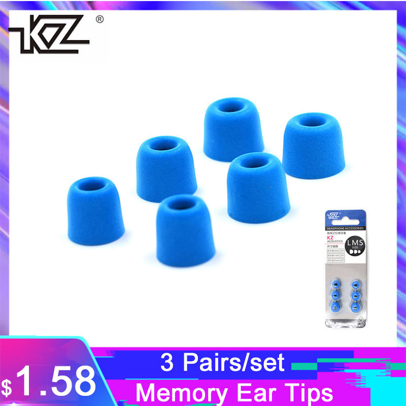 KZ 3 Pairs/set Noise Isolating Memory Ear Tips Silicone In-ear Earphone Earbuds Tips Earphone Accessories