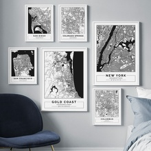 Black White New York map Gold Coast Map Wall Art Canvas Painting Nordic Posters And Prints Wall Pictures For Living Room Decor все цены