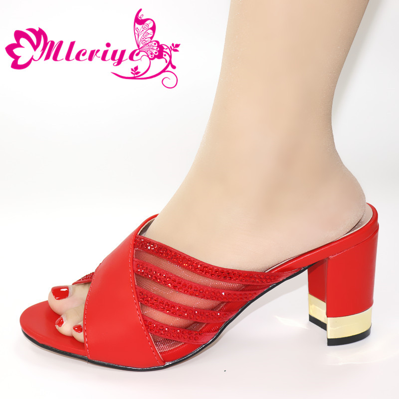 Latest Red Color Wedding African Shoes Without Bag Matching Set Italian Shoes Nigerian Office Ladies Sandals Shoes High Heels