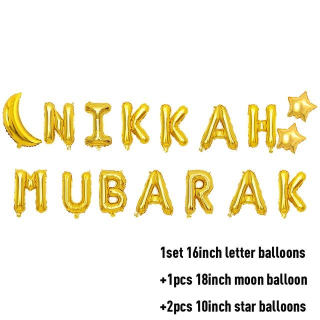 Gold /'Nikkah Mubarak/' Foil Letter Balloons