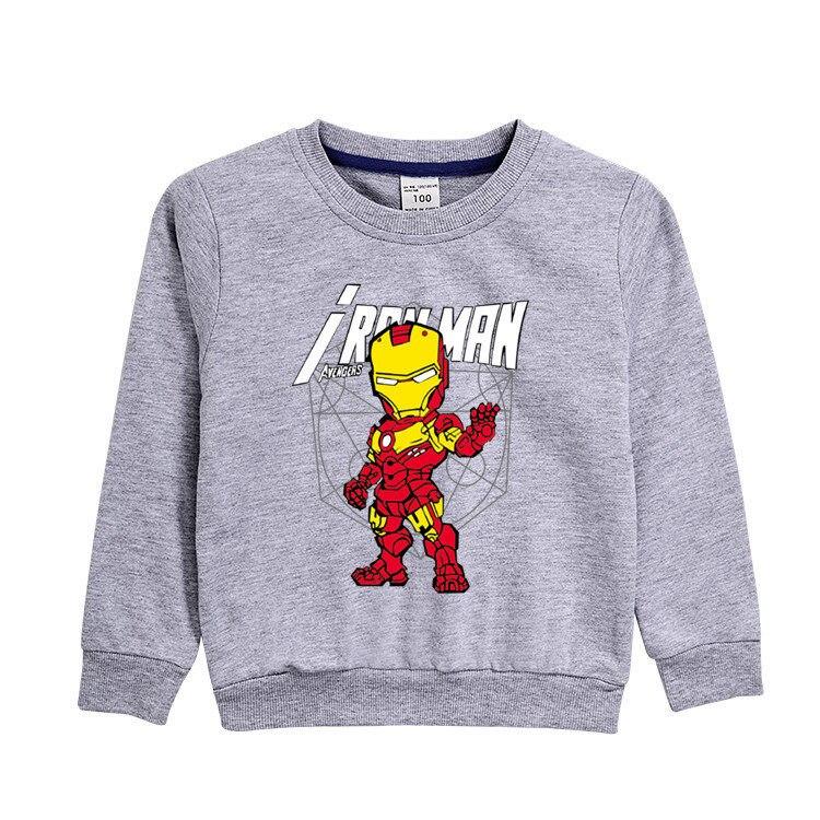 3~8 Years Autumn winter children's clothing Cartoon anime Iron hero Long-sleeved shirt T-shirt cotton blouse boy clothes gift 6