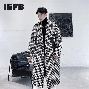 IEFB men's autumn winter new long coat thickened black whtie Plaid patchwork PU leaterh fashion woolen overcoat for mael 9Y4713 image