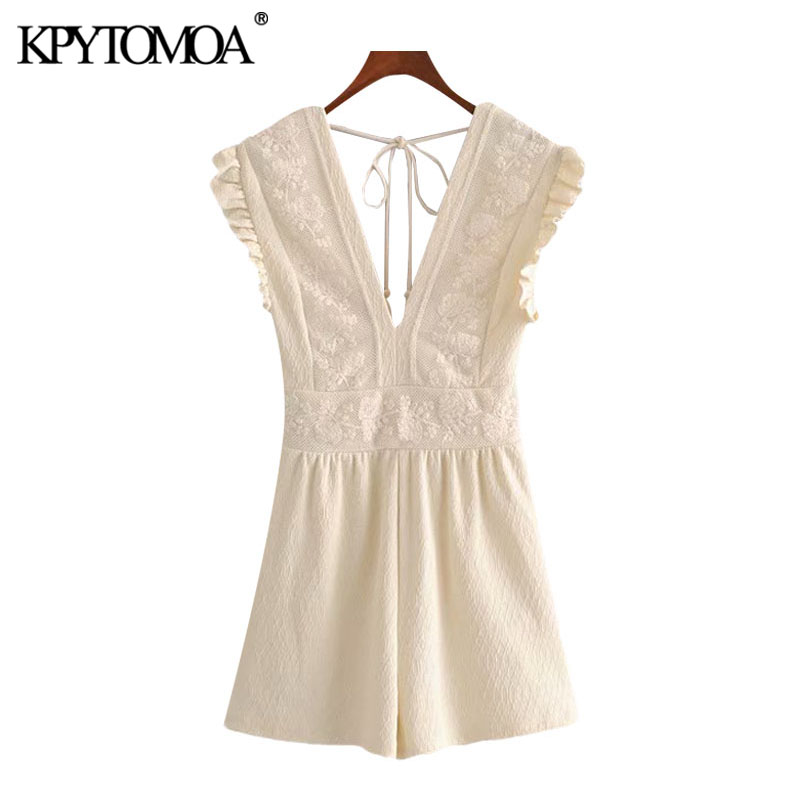 KPYTOMOA Women 2020 Chic Fashion Lace Patchwork Playsuits Vintage V Neck Sleeveless Backless Tied Female Short Jumpsuits Mujer