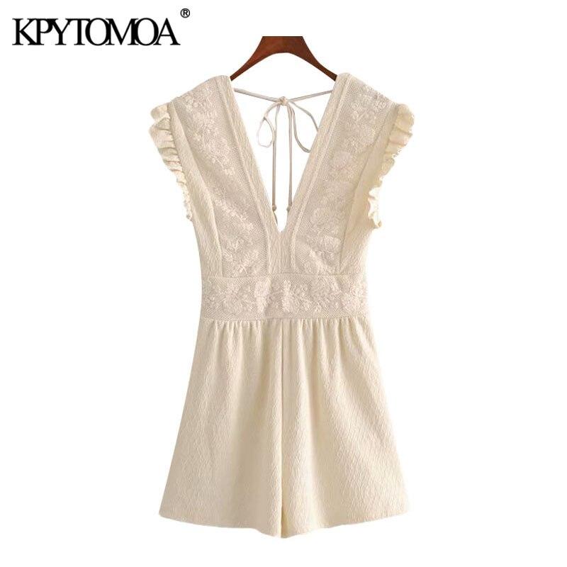 KPYTOMOA Women 2020 Chic Fashion Lace Patchwork Playsuits Vintage V Neck Sleeveless Backless Tied Female Short Jumpsuits Mujer