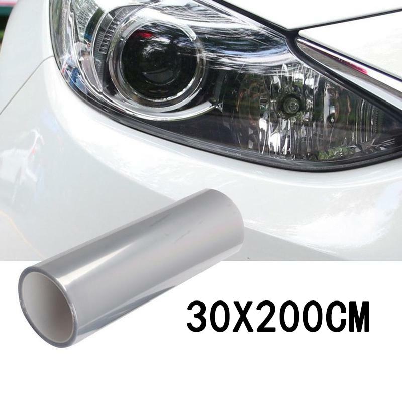 1 rouleau de voiture Transparent lumière protecteur Film pare-chocs capot peinture Protection phare Film protecteur vinyle enveloppement 200*30cm