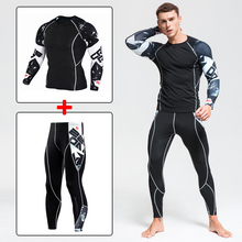 Men Gym Clothing Fitness Sportswear Set Quick Dry Mens Compression Suits Running Tight Sport Suit Jogging Outdoor