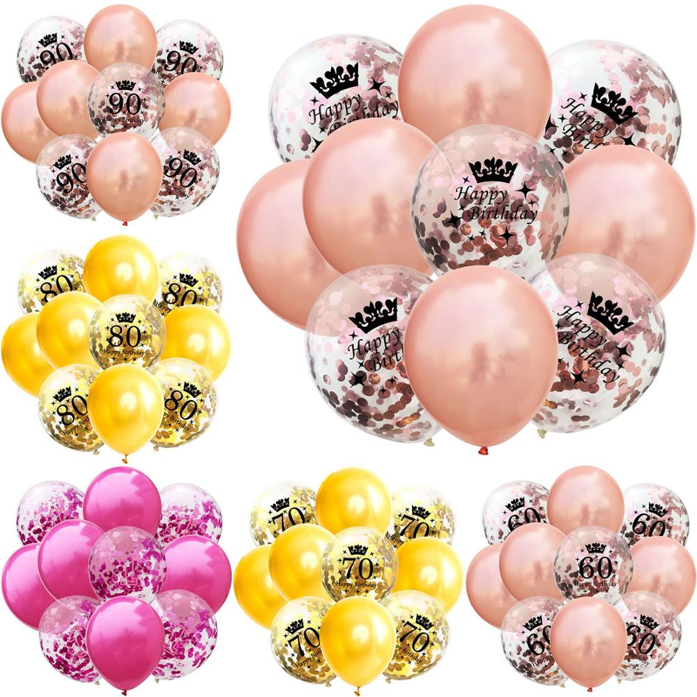 10pcs/Set 12 inch Birthday 1 <font><b>18</b></font> 21 30 40 50 60 70 80 <font><b>90</b></font> age Latex Balloon Multicolor Decoration Balloons Happy Birthday Party image