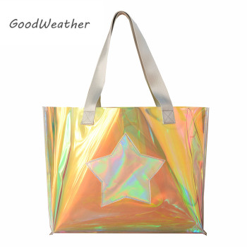 Beach transparent bag woman waterproof laser clear tote bags summer big top-handle bags laser holographic purse jelly handbag 3