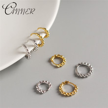 CANNER Fashion Korean Jewellery Simple Gold Round Earrings 100% 925 Sterling Silver for Women Beads Stud