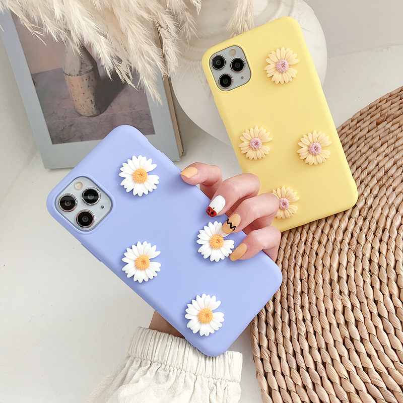 Korean Ins Cute 3D Daisy Silicone Soft Phone Case For Xiaomi Redmi Note 3 4 4X 5 5A Note 6 7 8 8T 10 Pro Note10Pro Cover