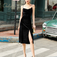 Ordifree 2021 Summer Women Velvet Party Dress Spaghetti Strap Vintage Sexy Split Black Slip Dress