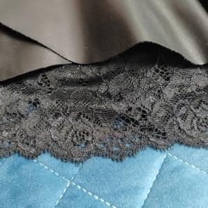 Image 5 - Senhora oversized outono alta cintura saia de couro do plutônio rendas splice mini uma linha saias mulher plus size saia preta feminino saia de inverno