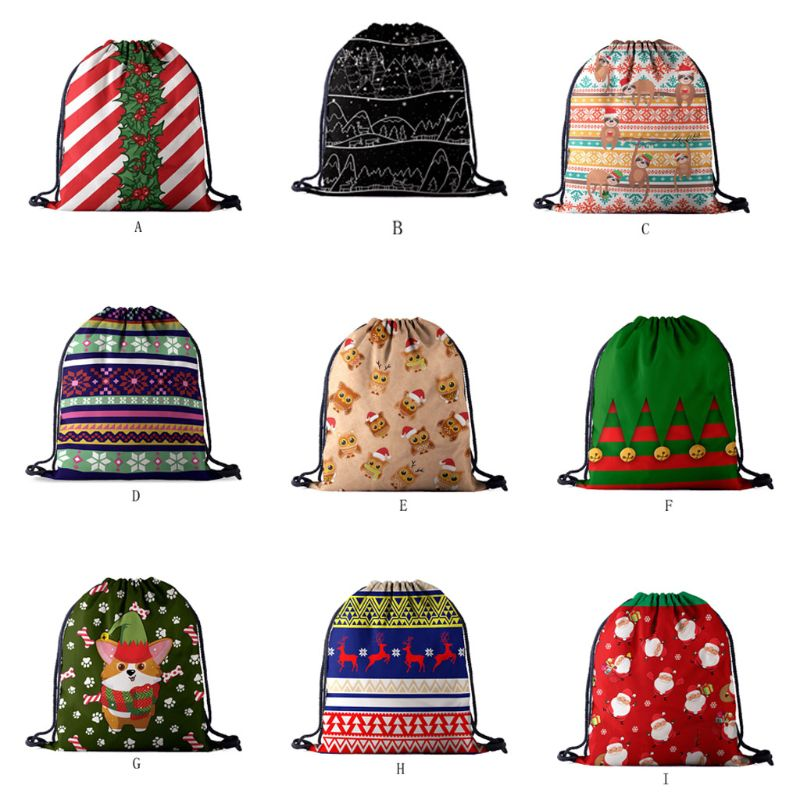 Christmas Backpack Drawstring Shopping Bags Travel Holiday Party Decoration