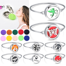 2019 New Locket Bracelet Bangle Christmas Stainless Steel Essential Oil Diffuser Perfume Aromatherapy