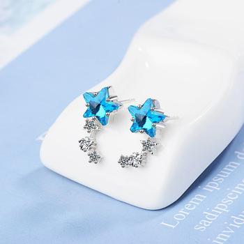 Kolczyki damskie mała błękitna pięcioramienna gwiazda sztuczny kryształ śliczne mini gwiazdkowe kolczyki tanie i dobre opinie Ze stopu aluminium CN (pochodzenie) Kolczyki-sztyfty GEOMETRIC Kobiety Klasyczny Metal moda Earrings Star shape