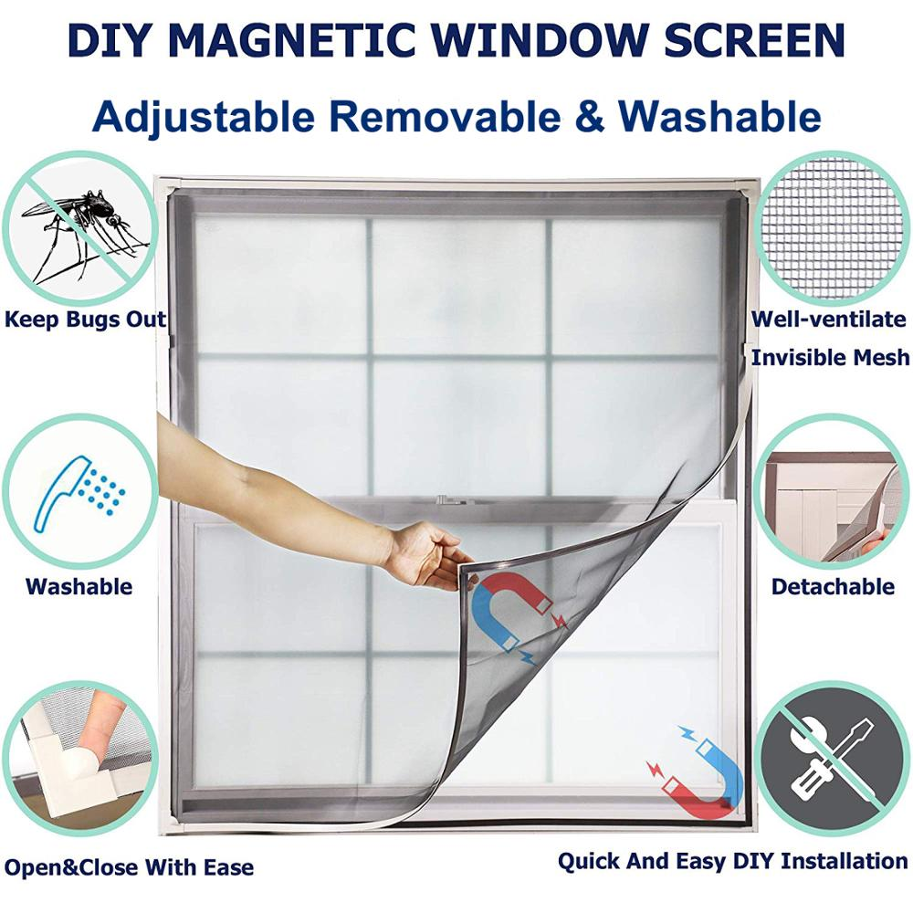 Adjustable Magnetic Window Screen For Window, Anti Mosquito Net Mesh With Full Frame Removable Washable With Easy DIY Installati