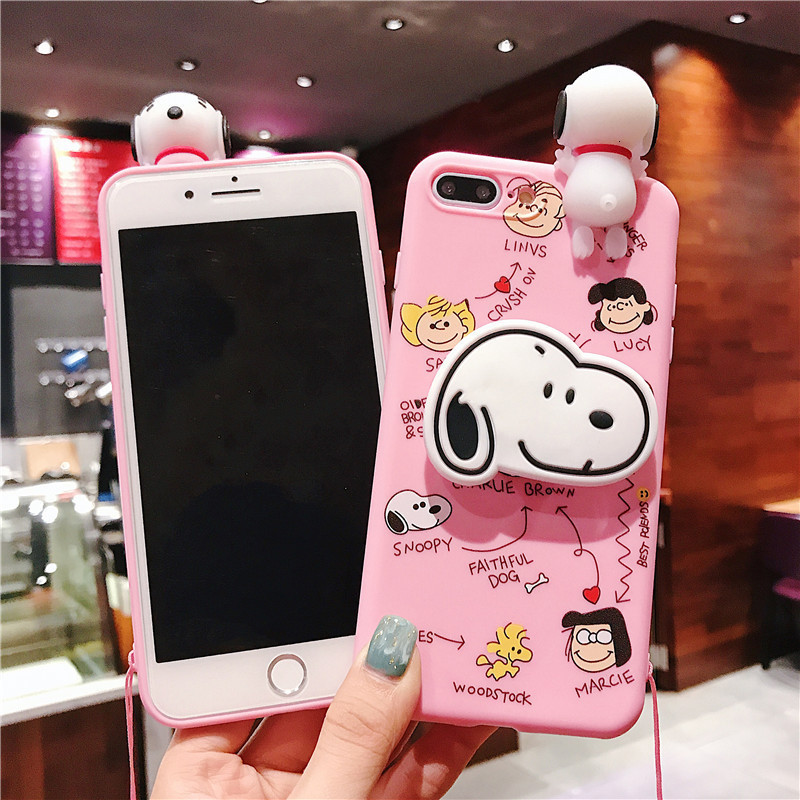 Image 4 - Creative cartoon cute Snoopy phone case for iPhone X XS XR XSMax 8 7 6 6S PluS doll pendant silicone drop protection cover-in Fitted Cases from Cellphones & Telecommunications