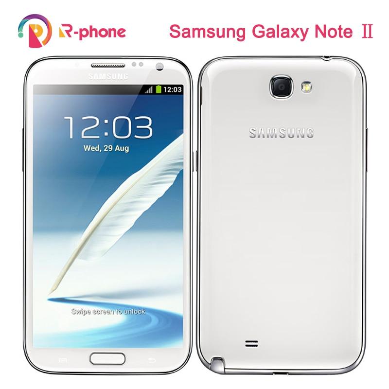 Samsung Galaxy Note II N7100 отремонтированный мобильный телефон 8MP камера четырехъядерный GSM 3G 5,5 'Note 2 разблокированный оригинальный телефон