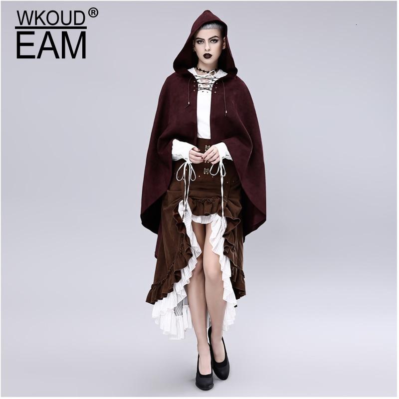 WKOUD EAM tempérament écharpe col manches longues Steam Punk Halloween imiter peau de daim même chapeau cape manteau 2019 nouveau ZJ104