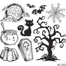 AZSG Halloween Moon Pumpkin Withered Tree Clear Stamps For DIY Scrapbooking/Card Making/Album Decorative Silicone Stamp Craft