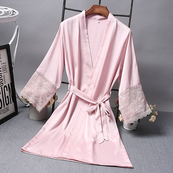 Bridesmaid Robes Satin Robe Bride Elegant Sleepwear Sexy Lace Women Dressing Gown Bathrobe Kimono Silk Bath Robe Sleep Lounge image