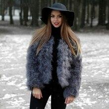 Vrouwen Real Struisvogelveren Jassen Winter Mode Natuurlijke Bont Jassen Fluffy Turkije Feather Lady S1002