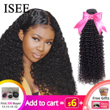 ISEE Hair-Bundles Human-Hair-Extensions Buy Kinky Curly Remy Nature-Color Thick