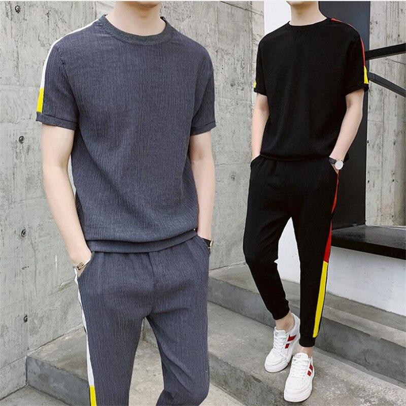 Хороший мужской бренд, мужские летние футболки с коротким рукавом, хип-хоп топы, костюм, комплект мужской спортивной одежды, мужская одежда