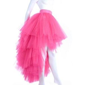 Ярко-розовая Тюлевое асимметричного кроя юбка для женщин с молнией на талии Асимметричная юбка-пачка для взрослых выпускные юбки Многоуров...