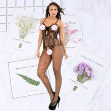 Sexy lingerie stockings Bodysuits hot Erotic open crotch lace mesh body porn sexy underwear costume