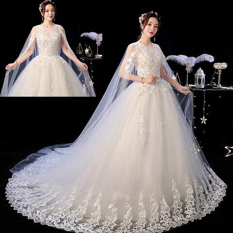 Elelgant Court Train Lace Wedding Dress 2019 New Princess Vintage Bride Dress Plus Szie Vestidos De Casamento Do Trem Da Corte Karachi