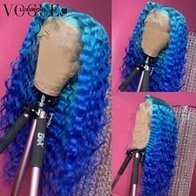 Бразильский парик с глубокой волной, без клея, 4/613 блонд, на шнуровке, передний парик с голубым Омбре, человеческие волосы, прозрачные парики ...