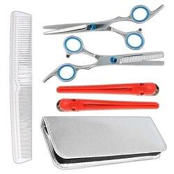 Nożyce fryzjerskie zestaw narzędzi/stal nierdzewna przerzedzenie i proste włosie nożyce do cięcia/profesjonalny fryzjer strzyżenie fryzjer Teet w Trymery do włosów od AGD na