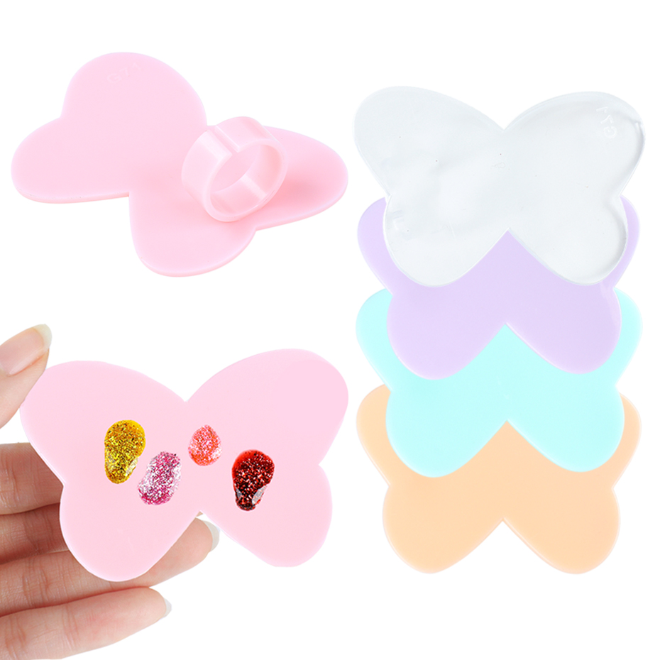 Nail Art Paint Palette Mixing Finger Ring Color Holder Nail Acrylic UV Gel Polish Drawing Board Manicure Accessory Tools TR1593