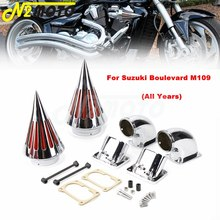 цена на Motorcycle Aluminum Dual Spike Air Cleaner Intake Filter Kit For Suzuki Boulevard M109R All Year Chrome Cone Air Intake Filter