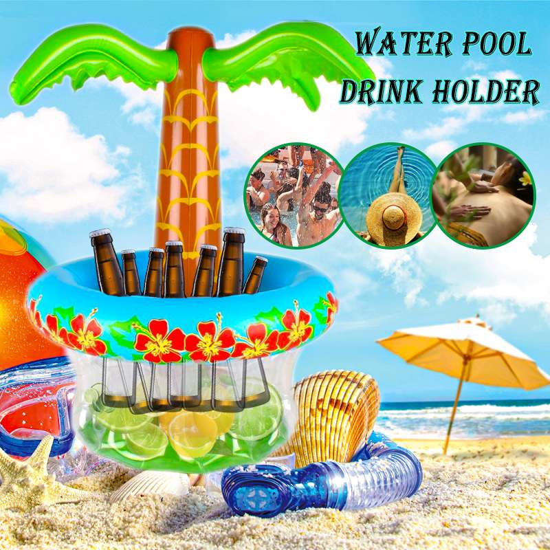 Hawaii Series 45 X 65cm Inflatable Large Coconut  Tree Ice Bucket Drink Pool Cube Beer Whiskey Freeze Sandbeach Party Decora
