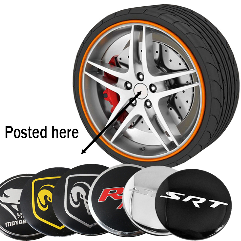 Car Styling For Dodge SRT RT Car Wheel Hub Center Caps Sticker For Dodge Challenger HellCat RAM Viper RT SRT Logo Wheel Sticker