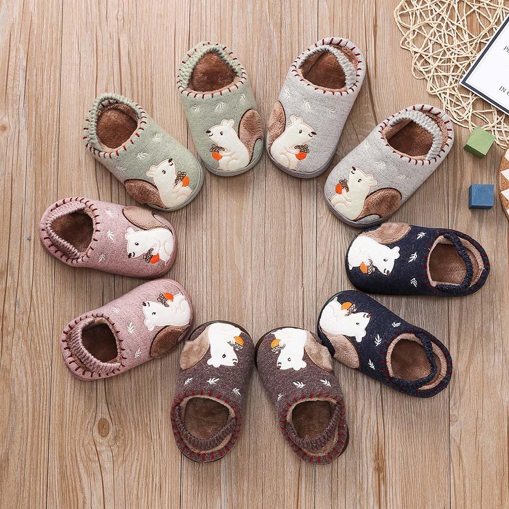 Children Slippers Toddler Boys Girls Fluffy Little Kids Shoes Warm Cute Animal Home Slipper Badslippers Room Skid  For Kid