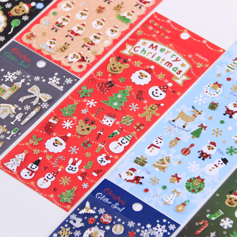 Christmas PVC Gilding Snowflake Elk Children Plane Decorative Stickers Scrapbooking Stick Label Diary Stationery Album Stickers