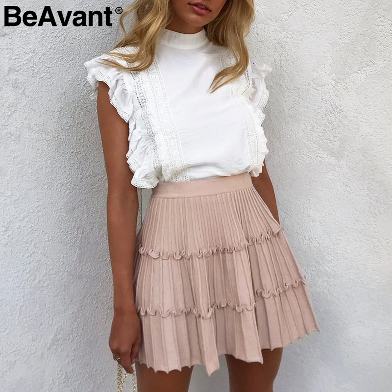 BeAvant Pleated Knitted Winter Skirts Womens A Line Ruffle High Waist Mini Skirt Female 2019 Autumn Pink Short Skirts Ladies