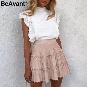 Image 2 - BeAvant plissé tricoté hiver jupes femmes une ligne à volants taille haute mini jupe femme 2019 automne rose jupes courtes dames