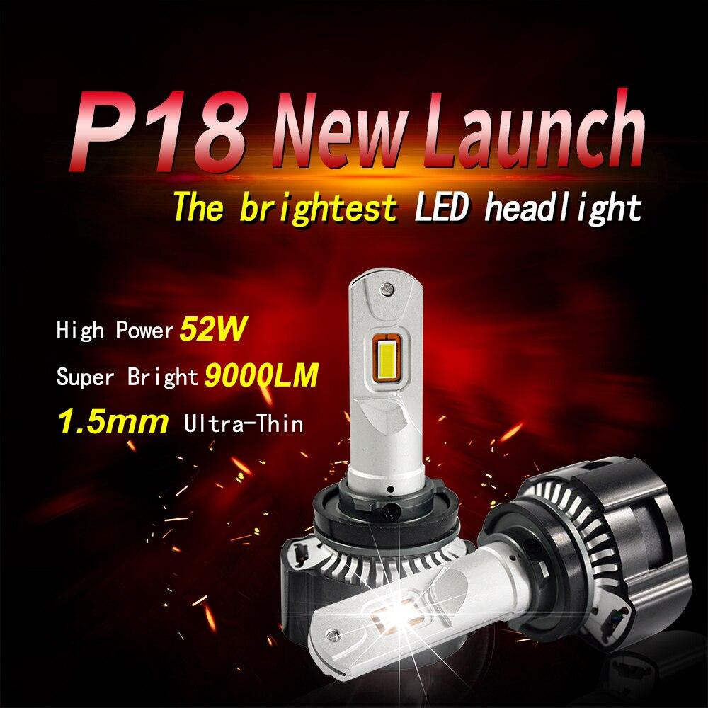 1 комплект H7 P18 светодиодный фар супер яркий светодиодный H4 H8 H9 H11 9005 9006 HB3/HB4 9012 HIR2 линия резки фокусирует луч Turbo Вентилятор 104W 18000LM - 3