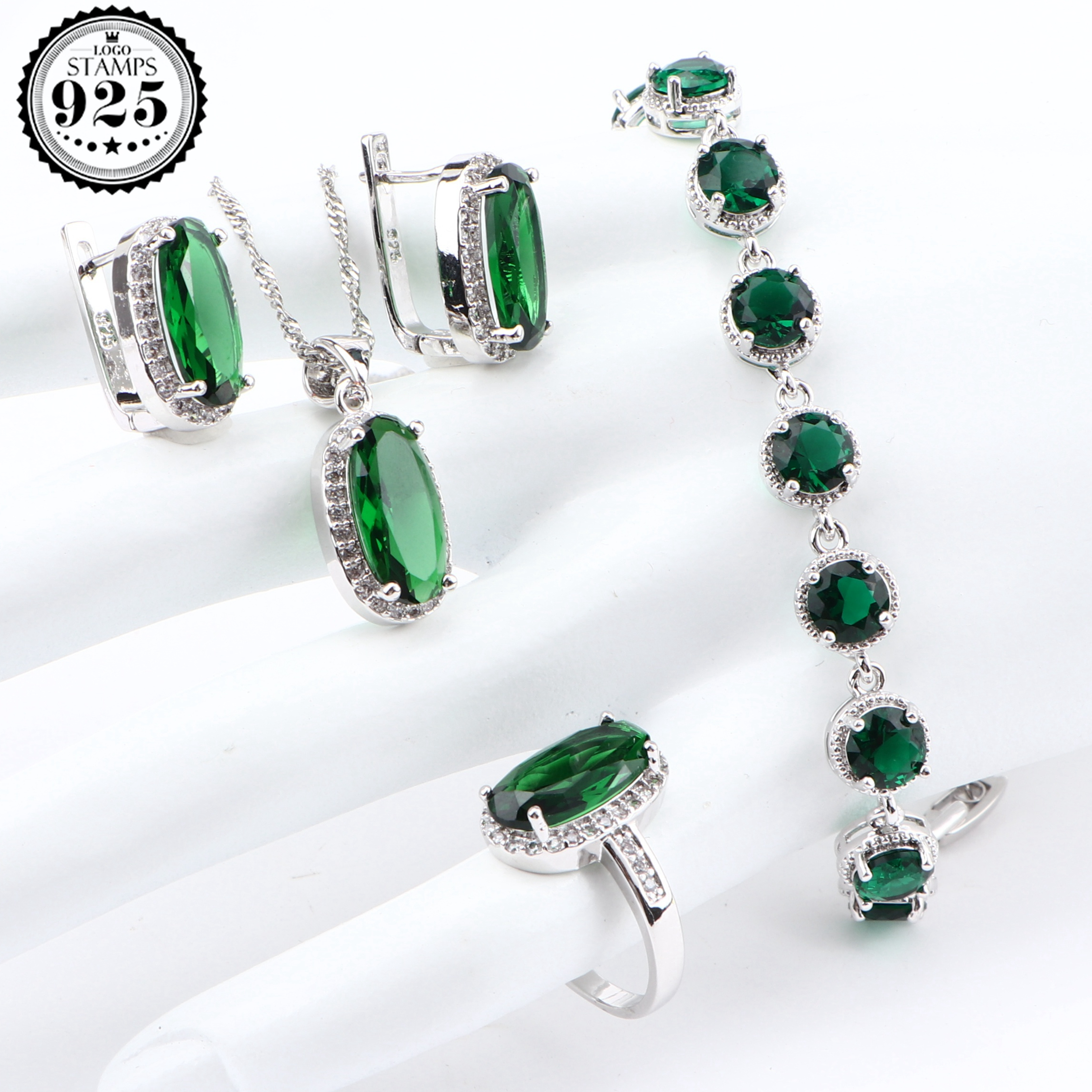 Green Zirconia Women Luxury Bridal Jewelry Sets Silver 925 Costume
