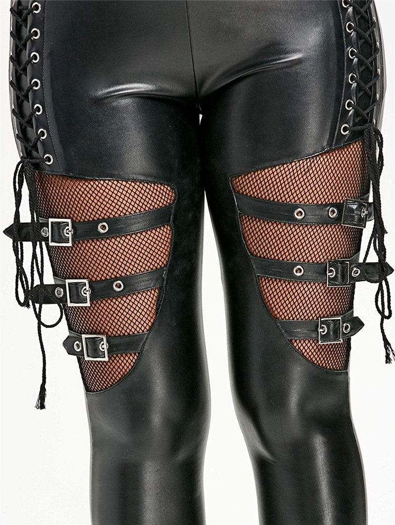 Women Fishnet Trim Lace Up PU Leather Pants Thin Lightweight Gothic Punk Leggings Fitness pants