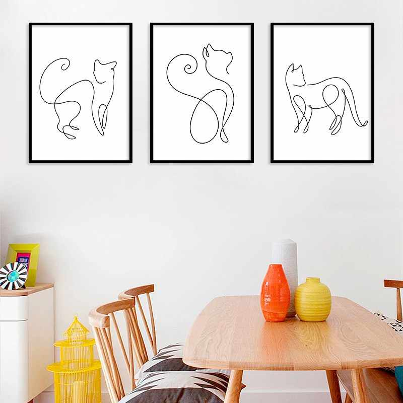 Nordic Minimalist Black and White Line Cat Animal Canvas Painting Home Decoration Hanging Painting Frameless Wall Art Kitchen