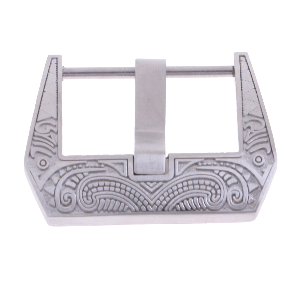 Flower Engraving Steel Screw-In Watch Buckle 22mm Replacement Clasp Crafts